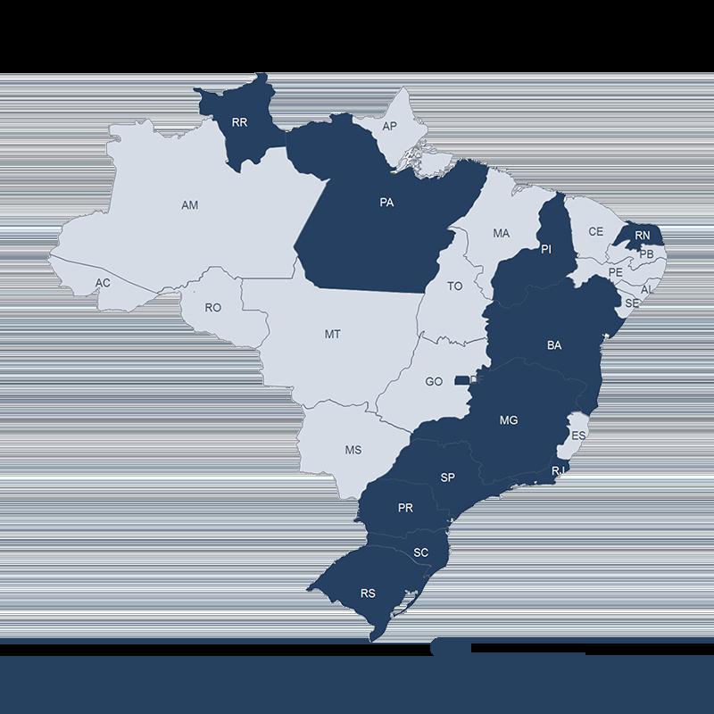Mapa de atuação da Freehelper